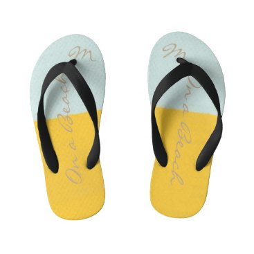 Beach Themed Cute On a Beach Yellow Mint Monogrammed Flip Flops