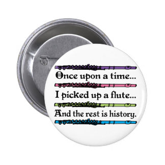 Cute Once Upon A Time Flute Pinback Button