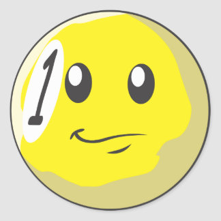Cute One 1 Ball Billiard Cartoon Classic Round Sticker