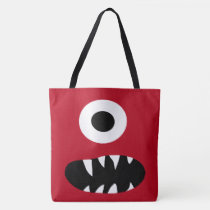 Cute One Eyed Monster Face Monsters Pattern Red Tote Bag