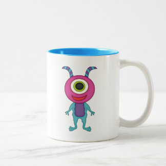Cute One-Eyed Monster+Personalize Name Two-Tone Coffee Mug
