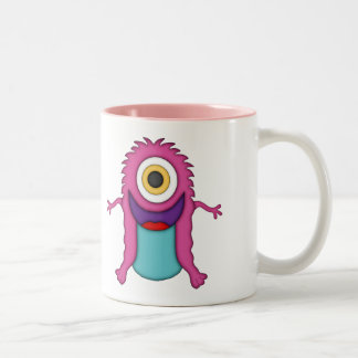 Cute One-Eyed Pink Monster+Personalize Name Two-Tone Coffee Mug