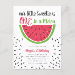 "Cute One In A Melon Watermelon Kids 1st Birthday Invitation Postcard<br><div class=""desc"">Celebrate your kids's 1st birthday with these cute summer birthday invitations. Featuring ""ONE in a melon"" in a sweet script typeface with a bitten watermelon slice. The party details are shown in a simple modern typography with watermelon seeds around it. Reversing to a watermelon pattern on the back.</div>"