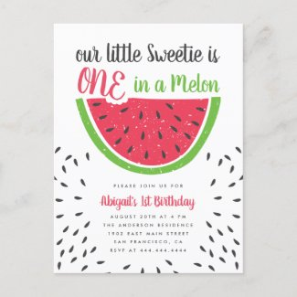 Cute One In A Melon Watermelon Kids 1st Birthday Invitation Postcard