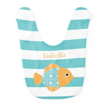 heartlocked Cute Orange and Aqua Fish Bib