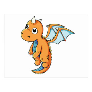 Cute Orange and Blue Cartoon Dragon Postcard