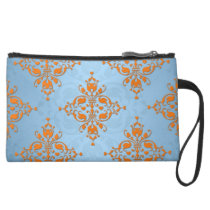 Cute Orange and Blue Damask Suede Wristlet Wallet
