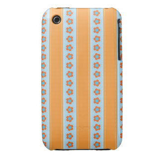 Cute Orange and Blue Stripes with Flowers iPhone 3 Case