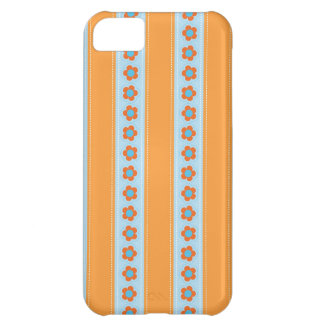 Cute Orange and Blue Stripes with Flowers Case For iPhone 5C