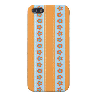 Cute Orange and Blue Stripes with Flowers Cover For iPhone 5