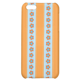 Cute Orange and Blue Stripes with Flowers iPhone 5C Case