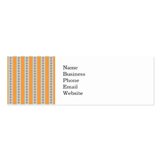 Cute Orange and Blue Stripes with Flowers Mini Business Card