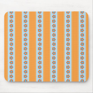 Cute Orange and Blue Stripes with Flowers Mouse Pad