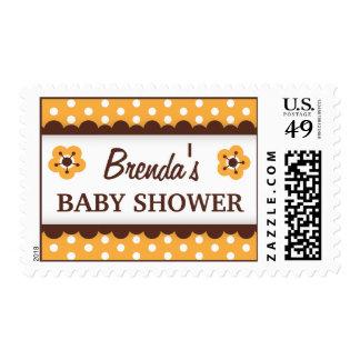Cute orange and brown floral polka dot baby shower postage stamp