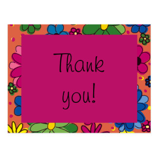Cute Orange and Colorful Floral Birthday Thank You Postcard