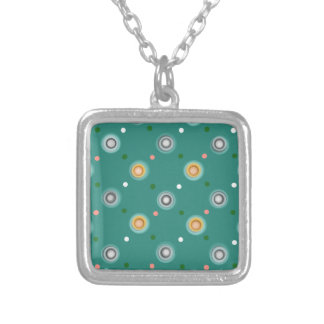Cute Orange and Green Polka Dot Silver Plated Necklace