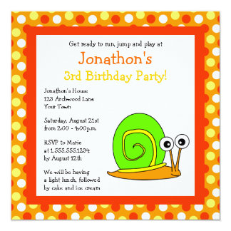 Cute Orange and Green Snail Birthday Invite