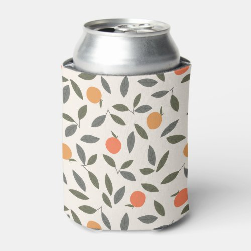 Cute Orange and Leaves Pattern Can Cooler