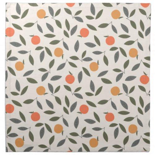 Cute Orange and Leaves Pattern Cloth Napkin