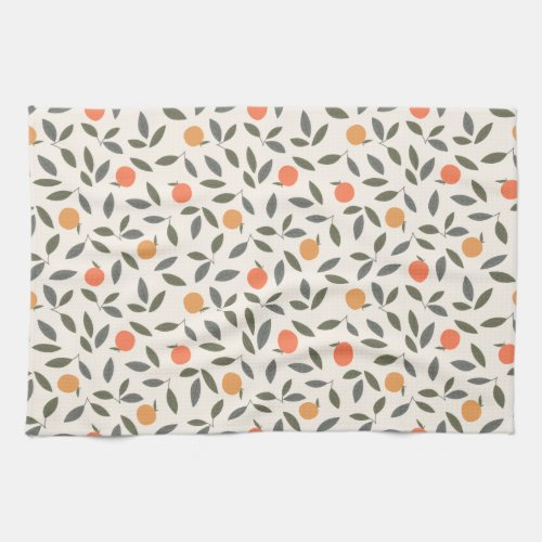 Cute Orange and Leaves Pattern Kitchen Towel