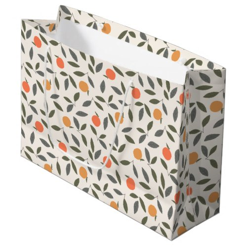 Cute Orange and Leaves Pattern Large Gift Bag