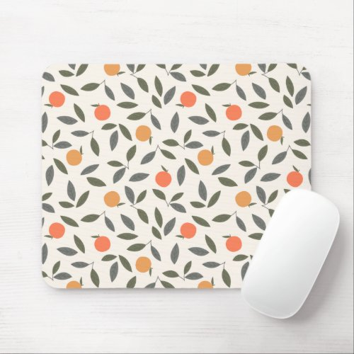 Cute Orange and Leaves Pattern Mouse Pad