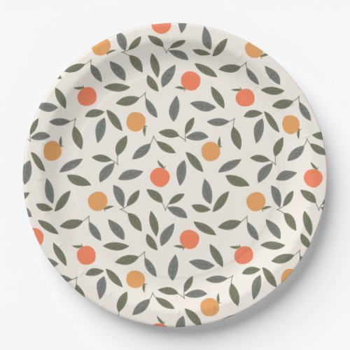 Cute Orange and Leaves Pattern Paper Plate