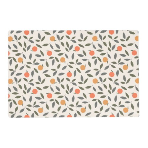 Cute Orange and Leaves Pattern Placemat