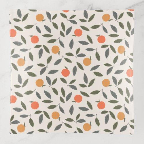 Cute Orange and Leaves Pattern Trinket Tray