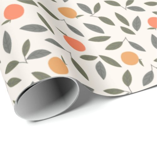 Cute Orange and Leaves Pattern Wrapping Paper