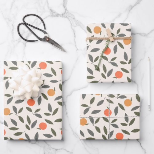Cute Orange and Leaves Pattern Wrapping Paper Sheets