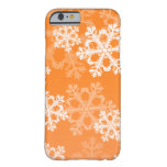 Cute orange and white Christmas snowflakes Barely There iPhone 6 Case