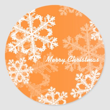 Christmas Themed Cute orange and white Christmas snowflakes Classic Round Sticker