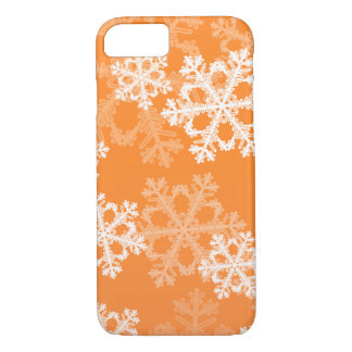 Cute orange and white Christmas snowflakes iPhone 7 Case