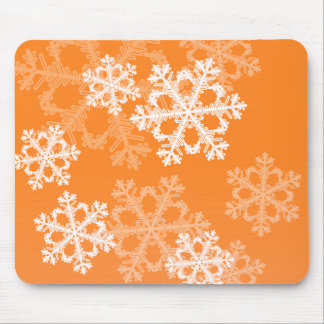 Cute orange and white Christmas snowflakes Mouse Pad