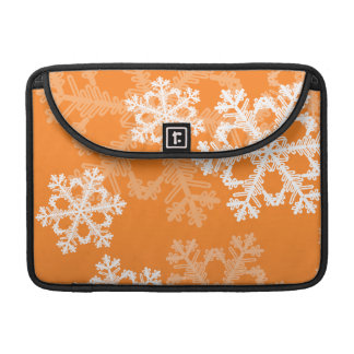 Cute orange and white Christmas snowflakes Sleeves For MacBook Pro