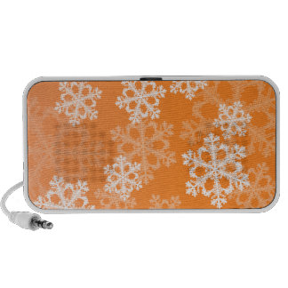 Cute orange and white Christmas snowflakes iPhone Speaker