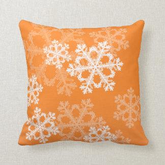 Cute orange and white Christmas snowflakes Throw Pillow