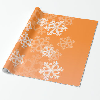 Cute orange and white Christmas snowflakes Wrapping Paper