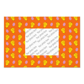 Cute orange baby chick easter pattern photo