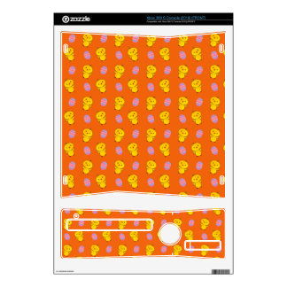 Cute orange baby chick easter pattern xbox 360 s console skin