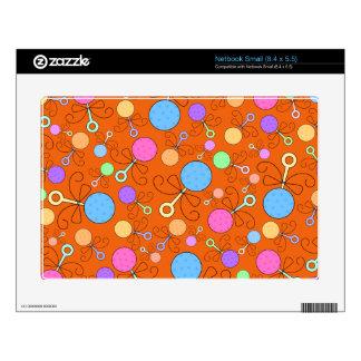 Cute orange baby rattle pattern netbook decals