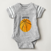 Cute Orange Basketball Personalized Baby Sports Baby Bodysuit