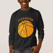 Cute Orange Basketball Personalized Kids Sports T-Shirt