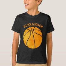 Cute Orange Basketball Personalized Kids Sports T-Shirt