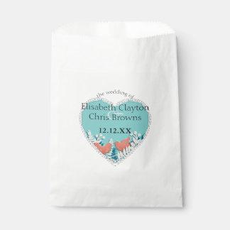 Cute orange birds origami cutout wedding favor bag