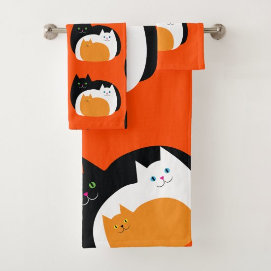 Cute Orange Black and White Kitty Cats Bath Towel Set