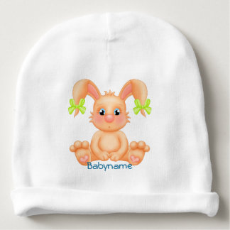 Cute Orange Bunny in Green Bows Personalized Baby Beanie