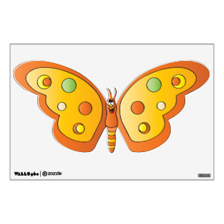 Cute Orange Cartoon Butterfly Wall Sticker