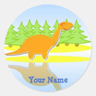 Cute Orange Cartoon Dinosaur Name Stickers